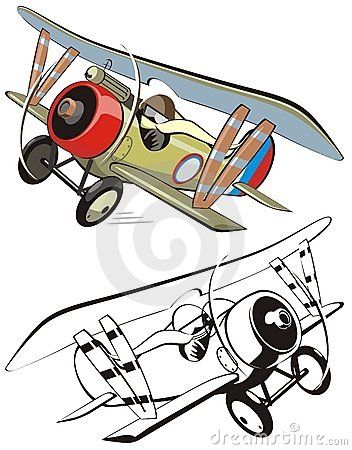 Free Vector Cartoon Biplane Stock Images - 10685684