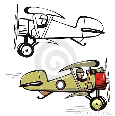 Free Vector Cartoon Biplane Stock Images - 6400854