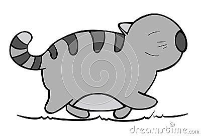 Vector of cartoon cat 02.