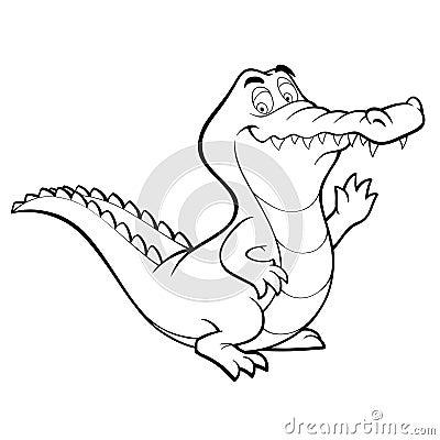 Vector cartoon crocodile line art coloring book