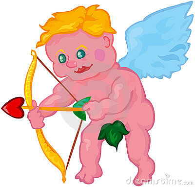 Vector cartoon cupid boy aiming