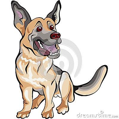 Vector Cartoon dog German shepherd breed