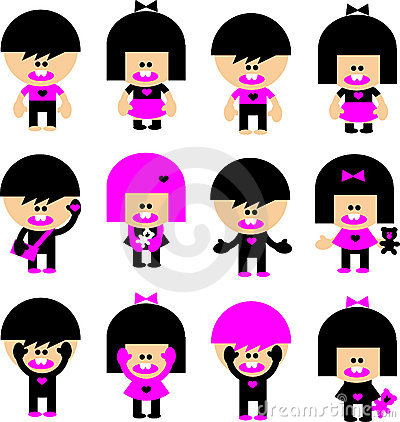 Vector Cartoon emo children icons