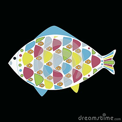 Vector cartoon funny fish. Underwater life.