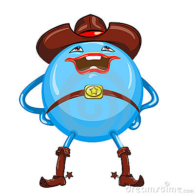 vector Cartoon funny round blue-colored monster