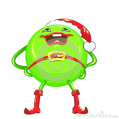 vector Cartoon funny round green-colored monster