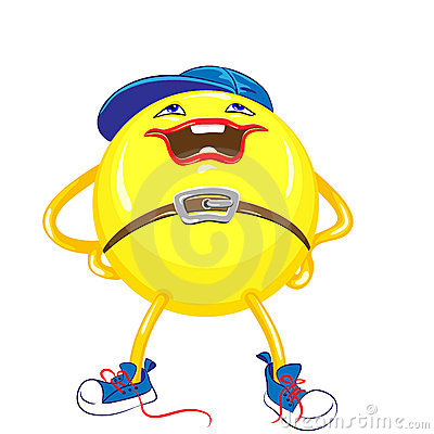vector Cartoon funny round smiling monster