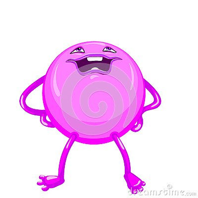 vector Cartoon funny round violet-colored monster