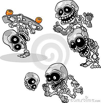 Vector Cartoon Halloween Undead Skeletons