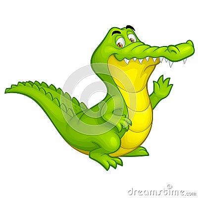 Free Vector Cartoon Happy Fun Crocodile Character Royalty Free Stock Photos - 25424378