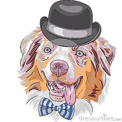 Vector cartoon hipster dog Australian Shepherd