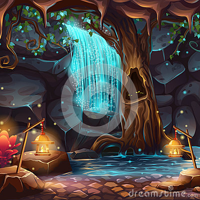 Free Vector Cartoon Illustration Of A Magical Waterfall Royalty Free Stock Photos - 83606338
