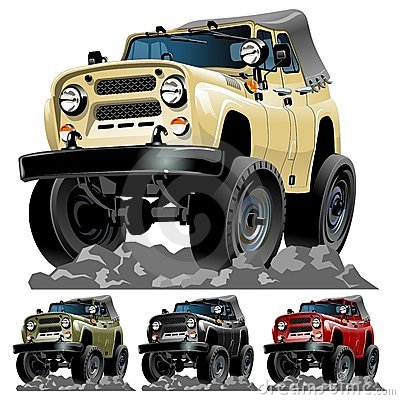 Vector cartoon jeep one-click repaint