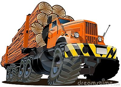 Vector cartoon logging truck