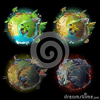 Free Vector Cartoon Planet Evolution Game Design Set Stock Photography - 109029802