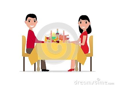 Vector cartoon romantic dinner by candlelight Vector Illustration
