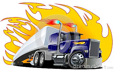 Vector Cartoon Semi Truck.