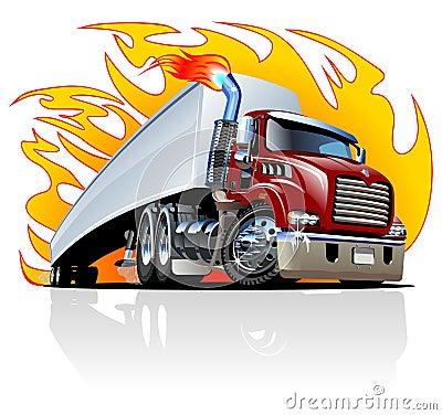 Free Vector Cartoon Semi Truck. One-click Repaint Royalty Free Stock Image - 31824496
