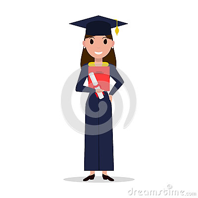 Vector cartoon student girl graduate Vector Illustration
