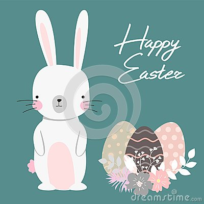 Free Vector Cartoon Style Easter Bunny Greeting Card Stock Image - 109940291