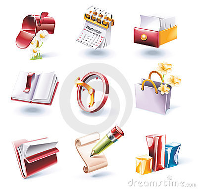 Free Vector Cartoon Style Icon Set. Part 1 Stock Image - 10700111