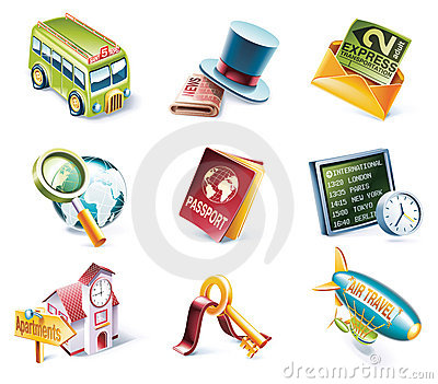 Vector cartoon style icon set. Part 12. Traveling