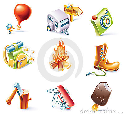 Free Vector Cartoon Style Icon Set. Part 14. Traveling Royalty Free Stock Images - 11078039