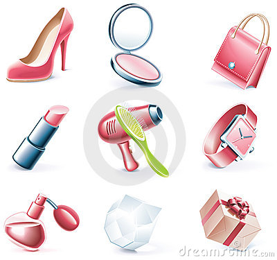 Free Vector Cartoon Style Icon Set. Part 17. Woman`s St Royalty Free Stock Photos - 11181028