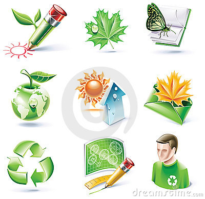 Free Vector Cartoon Style Icon Set. Part 18. Ecology Royalty Free Stock Images - 11181189