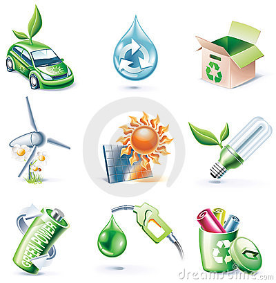 Vector cartoon style icon set. Part 19. Ecology