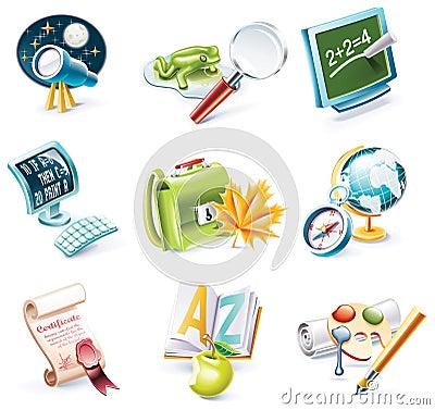 Vector cartoon style icon set. Part 23. School
