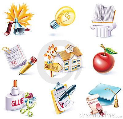 Free Vector Cartoon Style Icon Set. Part 25. School Royalty Free Stock Image - 11404186