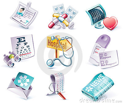 Vector cartoon style icon set. Part 29. Medicine