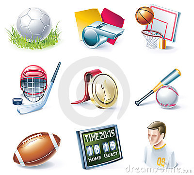 Free Vector Cartoon Style Icon Set. Part 33. Sport Royalty Free Stock Image - 11706046