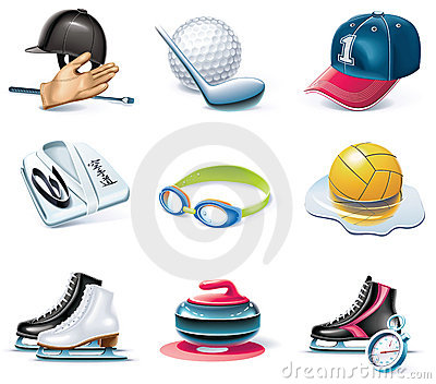 Vector cartoon style icon set. Part 37. Sport