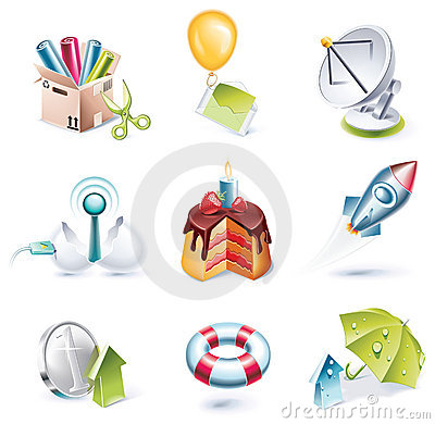 Free Vector Cartoon Style Icon Set. Part 7 Stock Image - 10818971
