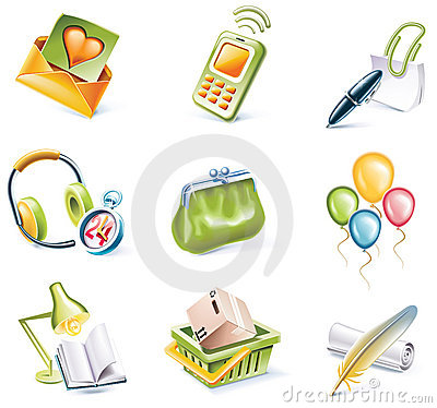 Free Vector Cartoon Style Icon Set. Part 8 Stock Photography - 10905792