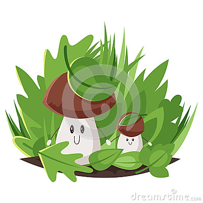 Vector cartoon style illustration of big and small forest mushrooms. Vector Illustration