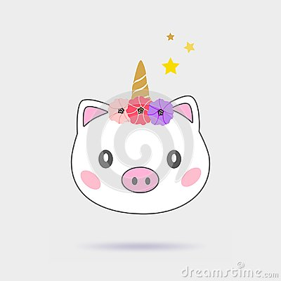 Magic pig unicorn cute illustration. Isolated on gray background. Cartoon Illustration