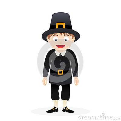 Free Vector Cartoon Thanksgiving Pilgrim Isolated Stock Image - 130685851