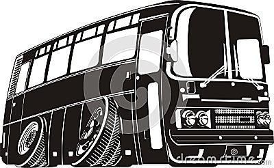 Vector cartoon tourist bus silhouette