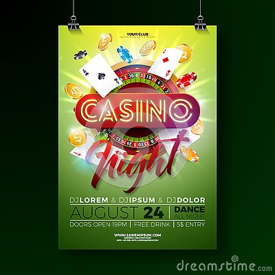 Free Vector Casino Night Flyer Illustration With Gambling Design Elements And Shiny Neon Light Lettering On Green Background Royalty Free Stock Photography - 144924197