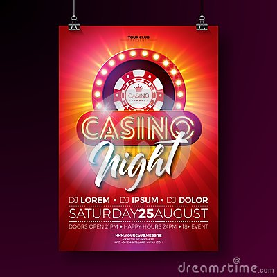 Free Vector Casino Night Flyer Illustration With Gambling Design Elements And Shiny Neon Light Lettering On Red Background Royalty Free Stock Images - 115215479