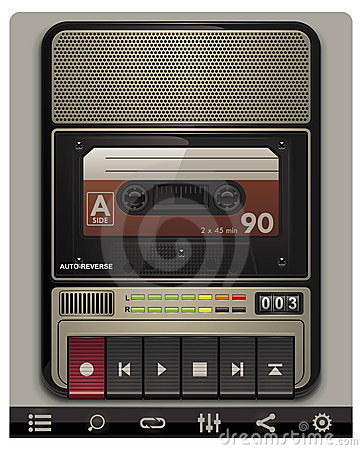 Free Vector Cassette Recorder Template With Icons Stock Photography - 19257762