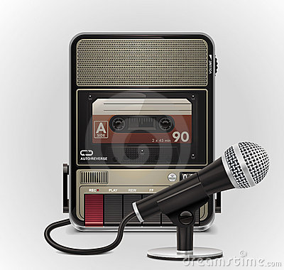 Free Vector Cassette Recorder With Microphone XXL Icon Stock Image - 19257771