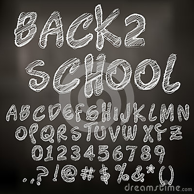Vector chalk sketched letters