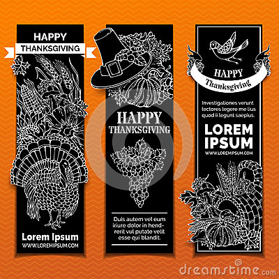 Free Vector Chalk Thanksgiving Vertical Banners Set. Royalty Free Stock Image - 78104776