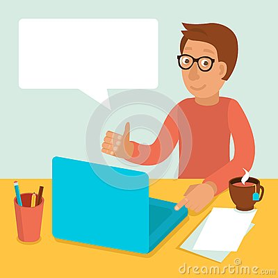 Vector character working on laptop in flat style