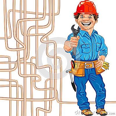 vector Cheerful locksmith plumber