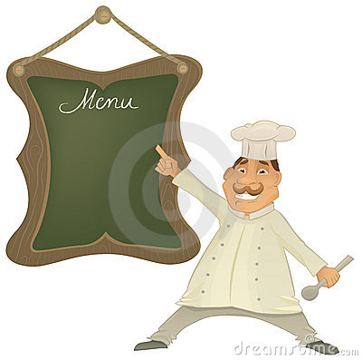 Vector Chef with menu illustration